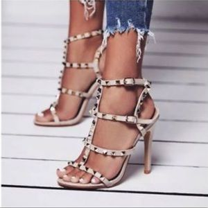 Nude studded high stiletto heels 7